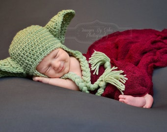 Yoda Hat Star Wars Hat Newborn 0 3m 6m Green Crochet Baby Clothes Earflaps Boys Girls POPULAR Worldwide Fathers Day Gift Daddies Love This