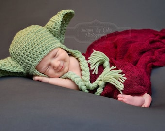 Newborn Boys Hat Baby Yoda Hat Star Wars 0 3m 6m Green Crochet Baby Clothes Earflaps Boys Girls POPULAR Christmas Gift  New Dads Love This