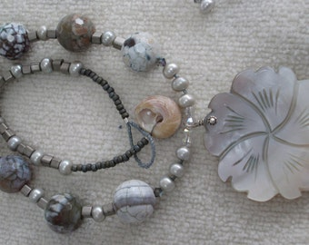 HONOLULU Necklace With Carved Albalone Shell Pendant, Safari Jasper, Freshwater Pearls, Swarovski Crystals & Sterling Silver OOAK