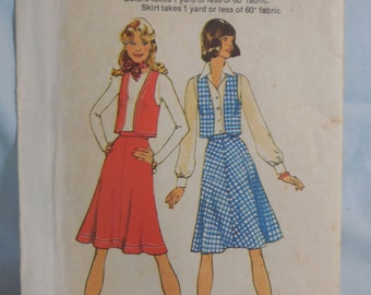 Simplicity 6861 - One Yard Skirt & Vest or Bolero - Cool Vintage Pattern - Size 14, Bust 36 - Easy to Sew - Beginner - 1970s - UNCUT