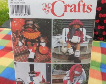 Simplicity 9443 - Decorative Porch Sitter Dolls - Christmas, Halloween - Scarecrow, Bunny, Snowman, Girl - Cute & Welcoming - UNCUT