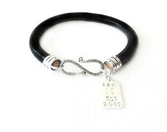 Round Leather Bracelet - Personalized Handstamped Sterling Silver Tag - Black Bracelet - The Basics: 6mm Single Wrap