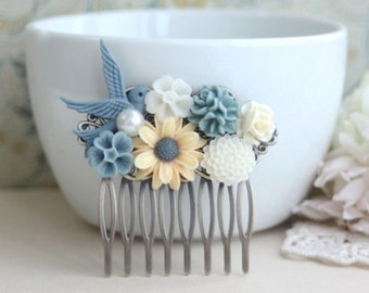 A Shabby Chic Yellow Daisy, Dusty Blue Vintage Style Collage Hair Comb Clip, Flower Hair Clip. Bridesmaids Comb. Wedding Comb. Bridal Comb