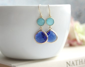 Cobalt Blue, Opal Blue Turquoise Blue Glass Framed Jewel French Drop Dangle Earring Bridesmaid Gift Modern Minimalist Something Blue Wedding