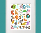 Animal Illustrated Alphabet ABC's 11x14 poster zoo, jungle, safari, illustrations for child's room, nursery, daycare, school, educational