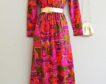 1960s Maxi Dress - Hostess Dress -  Neon Op Art - Mod - Pink - Orange - Olive - Hippie - Bohemian -  Bright Bold Colorful Boho - 32 Bust
