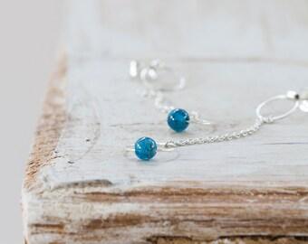 Kyanite and Sterling Silver Circle Drop Earrings by Prairieoats