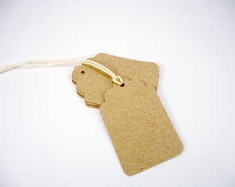 Blank tags set of 40,  kraft tags with strings, tan tags, gift tags, favor tags, wedding, shower, party, thank you, price tags, 1.25 x 2