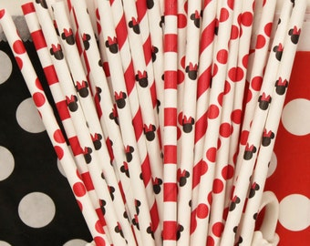 Paper Straws, Minnie Mouse, 20 Assorted Minnie Straws, Minnie Mouse Party, Girls Birthday,  Minnie's Bow-tique,  Baby Shower, Princess Party