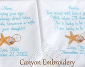Embroidered Wedding Hankerchief Mother of the Bride & Groom  Seashells Starfish Destination Beach Wedding -  By Canyon Embroidery