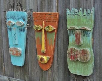 Tiki Mask, Tiki Man, Primitive Wall Hanging, Wood Sculpture, Rustic Beach House