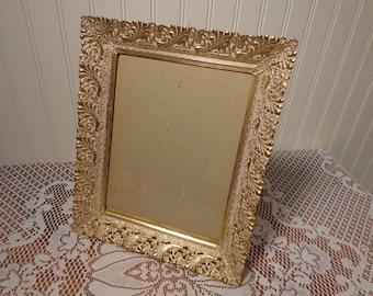 Vintage White Washed Gold Filigree Picture Frame -  14-0524