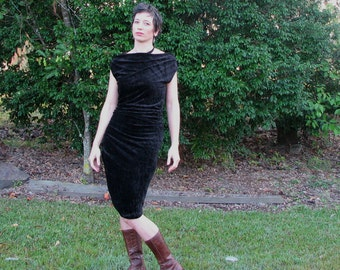 black velvety dress in bamboo stretch fabric