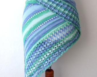 cotton triangle shawl, beach skirt, blue green white, summer knit