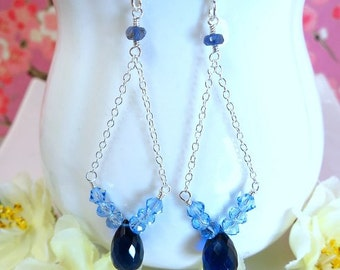 Blue quartz sterling silver bohemian chandelier earrings, Blue quartz silver chandelier earrings, blue art deco silver dangle earrings