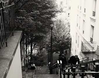Paris Photography - Black and White Paris Photography - Montmartre Photo - Stairs Steps Print - Trees - Urban Decor French Wall Art