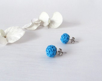 Studs Cabochon, Handmade Stud Earrings, original Textile Jewelry, sky blue accessory for the ear, many colors available, fancy blue jewelry