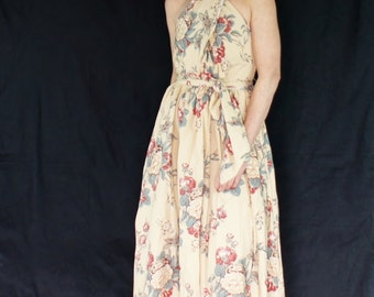 1980's Ralph Lauren Floral Halter Designer Dress