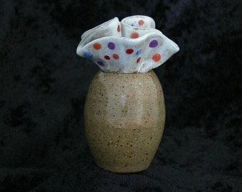 Wheel Thrown Stoneware Pot In Festive Polka Dots Handmade