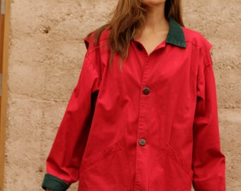 90s vintage red OXFORD corduroy contrast collar PACIFIC NORTHWEST style jacket coat
