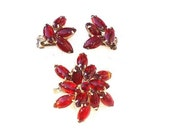 Vintage Red Rhinestone Brooch with  Matching Clip On Earrings / Old Hollywood Glamour Pin Earrings / Rudy Red Jewelry Set