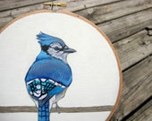 Blue Jay Hoop Art - Decorative Embroidery Hoop - Original Bird Painting with Hand Embroidered Feathers