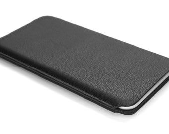 "iPhone 7 Leather Sleeve Slim Fit 4.7"" - Black Genuine Nappa Leather"