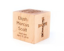 personalized BAPTISM BLOCK - a solid hardwood heirloom christening gift with name and other details, extra large with six sides engraved