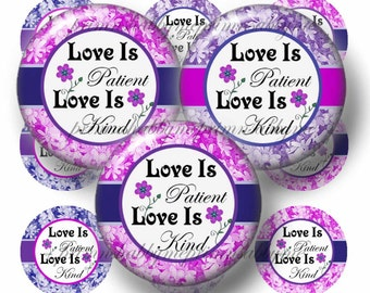 Digital Collage Sheet, Love Is Patient, Bottle Cap Images, 1 Inch Circles, Printable, Instant Download, Purple, Pink, Scattered Daisy