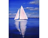 "5x7 FINE ART PRINT of ""Sunny Sailing"" Acrylic Sailboat Painting, Waterscape, Seascape, Home Wall Decor Gift Idea"