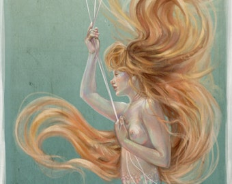 Mermaid with Goldfish Balloons Underwater Original Illustration Long Vertical Poster by Miss Tak - 3 sizes available 8x10 - 10x30
