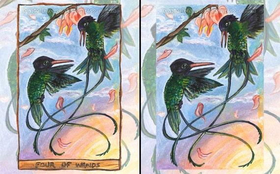 Hummingbird Print, Green Bird Artwork, 8x10 Wall Art, Four of Wands Tarot Card, Animal Illustration, Sunset Picture, Animism Tarot Deck