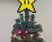 ORIGINAL Mario Bros. Perler Bead Star Christmas Tree Topper - december trends - gifts - trending - small business saturday