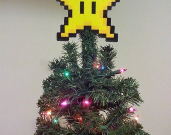 ORIGINAL Mario Bros. Perler Bead Star Christmas Tree Topper - december trends - gifts - trending - boxing day sale