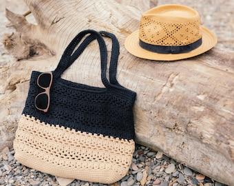 Crochet beach bag, market tote, lace bag, modern, two-colors - Pick you own!