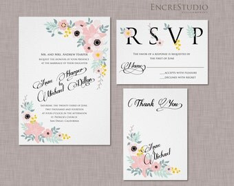Printable Rustic Floral Wedding Invitation