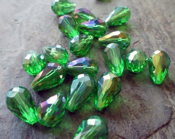 15 mm x 10 mm faceted crystal glass teardrop bead clear leaf green drilled lengthwise aurora borealis mystic coated, lot of 8 pcs