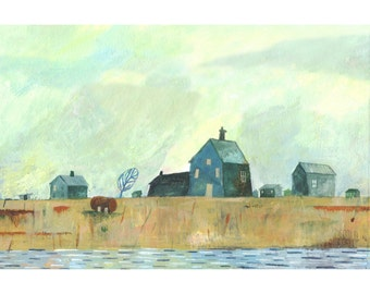 BIG reduction! Illustrated Art print Dungeness 16.5 in by 11.7in print