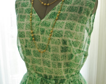 "Green Printed Chiffon Dress Vintage 1950 36"" Bust"