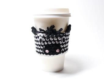 Zebra Coffee Cozy, Crochet Coffee Sleeve, Animal Can Holder, Travel Drink Cup Holder, Java Jacket