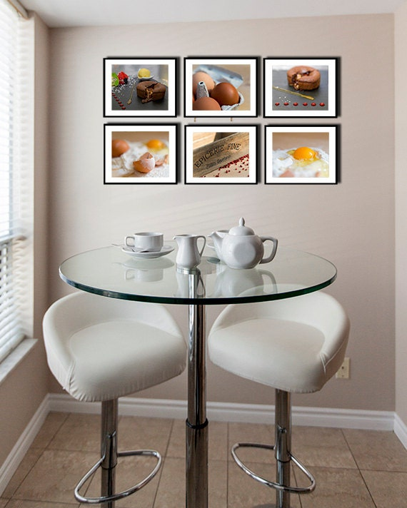 Kitchen decor french food photography kitchen art set of 6 for French kitchen artwork