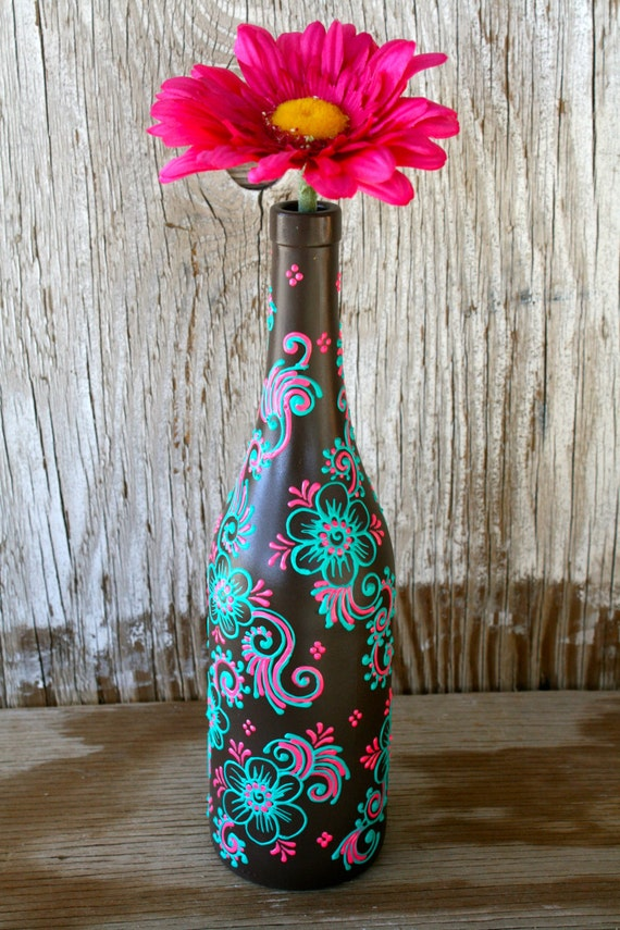 Summer sale hand painted wine bottle vase up cycled for Wine bottle crafts for sale