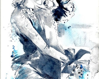 Original Watercolor Illustration - Figurative Watercolor Painting Titled: Long Distance