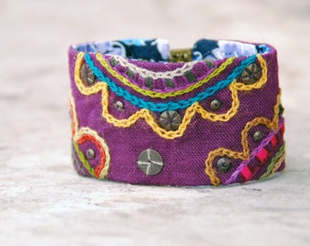 Ethnic textile bracelet. Estonian Folklore inspired colorful bracelet with embroidery. Eco Friendly