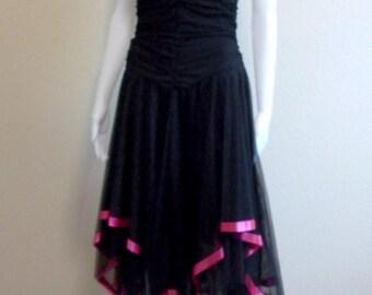 Black Strapless Goth Tulle Prom Formal Dress Black Asymmetrical Medium Large