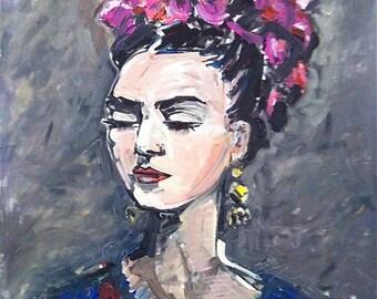 Frida Kahlo Print, Abstract Frida, Print of Frida painting
