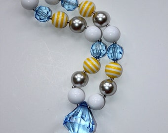 girl chunky bead necklace girl bubblegum necklace cinderella girl chunky bubblegum bead necklace blue yellow necklace faux blue diamond