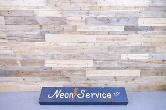 Large Vintage Neon Service Tool Box, Handmade Hand-painted Wood Tool Box