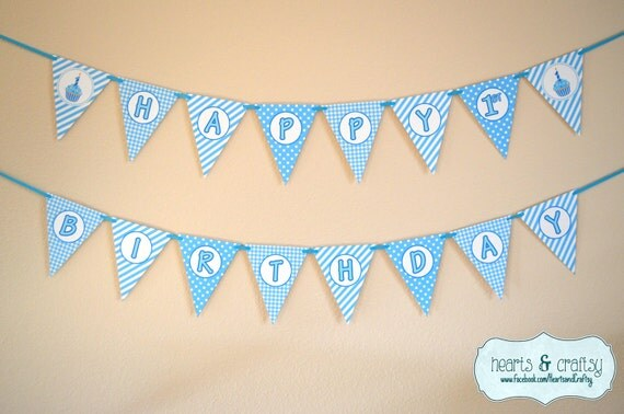 Printable Birthday Banner ~ First birthday boy blue cupcake happy birthday banner first