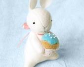 White Felt Bunny with Miniature Cupcake, Easter Bunny Rabbit Felt Doll, Felt Animal Soft Sculpture, Blythe Dolls Friend
